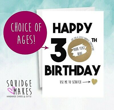 Personalised 30th Birthday Scratchcard token* Gift Surprise Reveal * Scratch off
