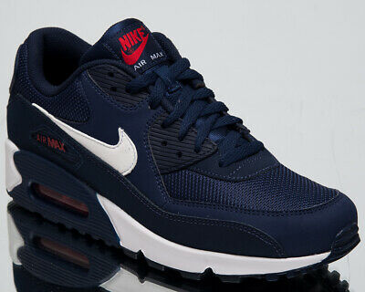 save off e3701 6d5d2 Nike Air Max 90 Essential Men s New Navy White Lifestyle Sneakers AJ1285-403