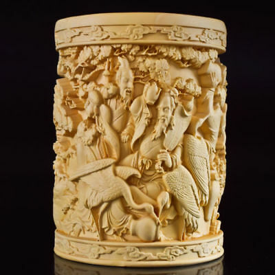 Chinese Boxwood Hand Carved TheEight Immortals Exquisite Brush Pot