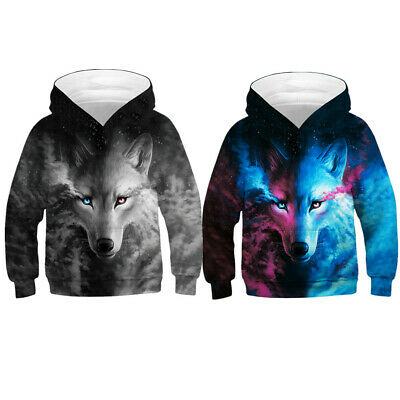Boys Girls Wolf 3D Hoodie Sweatshirt Pullover Jumper Top Casual Children Outfits