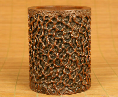 Antiques Chinese old boxwood hand carving branch statue figue netsuke brush pot
