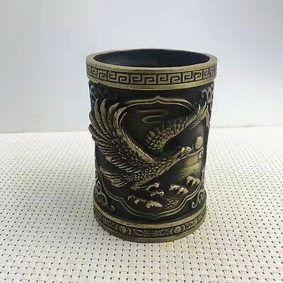 Marked Chinese Dynasty Copper Carving Hawk Eagle King Bird Brush Pot Pencil Vase