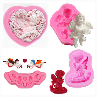 Silicone Mold 3D Border Angel Shape Homemade Candy Cake Molds Decor Baking Tools