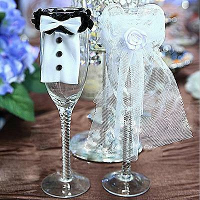2x Wine Glass Bride And Groom/Romantic Table Decor For Wedding Party RU