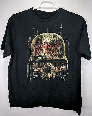SLAYER Metal Rock Band Vintage Skull Sz XL Black T Shirt