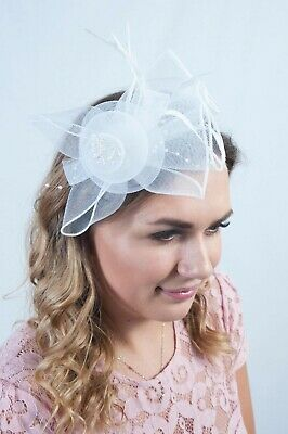 White Fascinator Hat Headpiece Fascinators Hats Race Day Wedding Millinery Hair