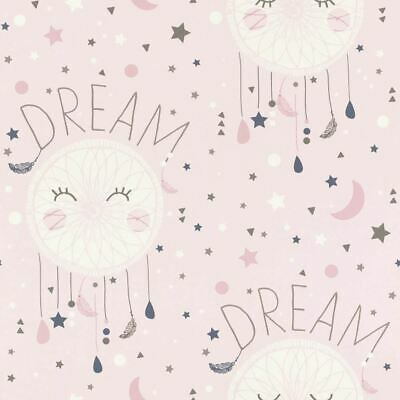 Rasch Girls Pink Wallpaper Dream Catcher Stars Moon Typography White Grey