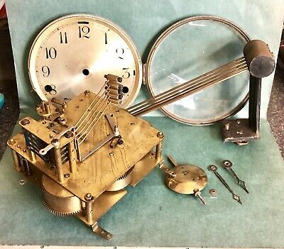 Antique Westminster Chime Mantle Clock Movement, Dial, Hands, Pendulum & Gong.