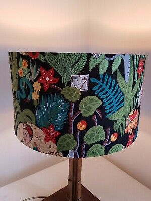Handmade 35cms Drum lampshade in Alexander Henry FRIDA GARDEN with gold lining