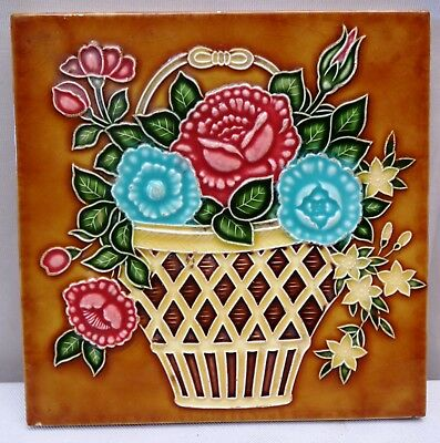 Vintage Tile Flower Pot Art Nouveau Ceramic Porcelain Majolica Saji Made Japan