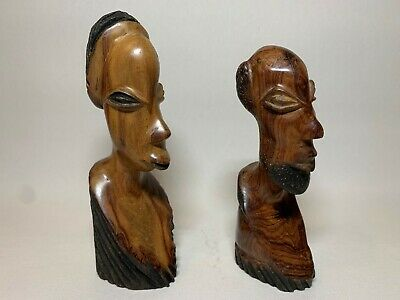 Rare Vintage Hand Carved Wooden Figures of African Tribal Female and Male