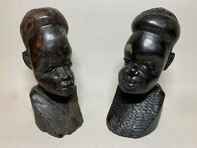 """Rare Vintage Hand Carved Wooden Figures of African Tribal Female and Male H 5"""""""