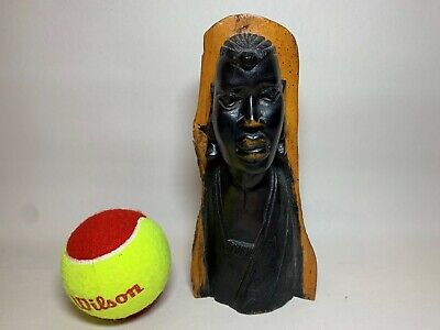 """Rare Vintage Hand Carved Wooden Figure of African Tribal Male Height  8""""/20cm"""