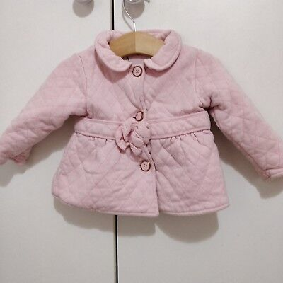 Ter Baker Girls 6-9m Pink Coat Peacoat Floral Lining quilted jacket baby wear