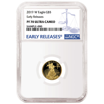 2019-W Proof $5 American Gold Eagle 1/10 oz. NGC PF70UC Blue ER Label