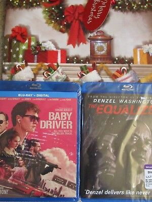 NEW Sealed Movie Blu Ray HD Digital Action lot Baby Driver The Equalizer