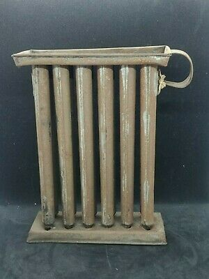 "Antique Primitive Taper Candle Stick Mold 12 Holes Tubes Tin Metal 11"" x 8"""