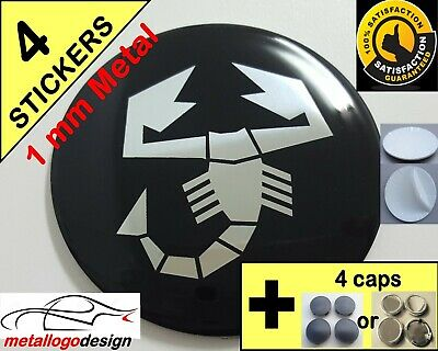 WHEELS CENTER CAP Centro Tapas Llantas (CAPS+STICKERS) 4pcs ABARTH 2