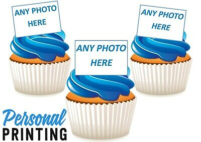 PERSONALISED ANY PHOTO - EDIBLE STAND UP WAFER CAKE TOPPERS your own image text
