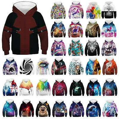 Boys Girls Sweatshirts Galaxy Unicorn Pullover Hoodie 3D Kids Animal Jumper Coat