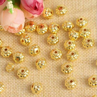 100PCS Gold Plated Acrylic Lantern Spacer Beads Crafts DIY Jewelry Findings 10MM
