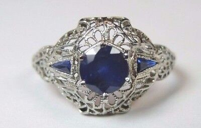 Antique Art Deco Vintage Sapphire Engagement 18K White Gold Ring Size 8 UK-P1/2