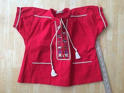 Vintage Swiss Child's Red Shirt-Decorative Trim Size 2 Made in Switzerland 1960s