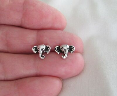 Sterling Silver 9mm Elephant face post stud earrings.