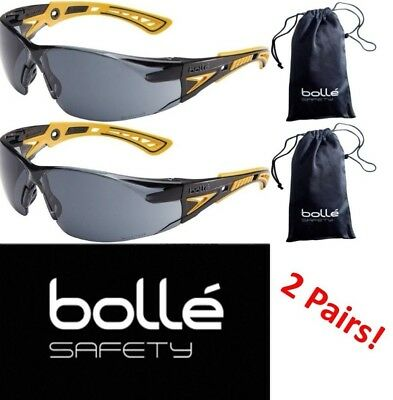 Bolle 40244 Rush+ Safety Glasses, Black/Yellow Frame, Smoke Anti-fog Lens 2 Pair