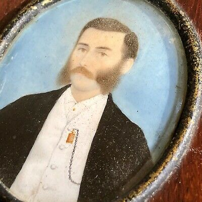 Antique 19th Century American School Painted Portrait Miniature Of A Gentleman.