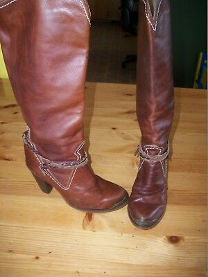 5f58706376ef0 ZODIAC VINTAGE '70'S Heeled Mid-Calf Brown Leather Boots Ankle ...