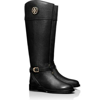 da88755de643 TORY BURCH TERESA Women s Black Tumbled Leather Riding Boots sz 5M ...