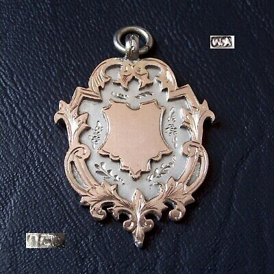 Beautiful antique solid silver & gold fob medal for a watch chain / pendant