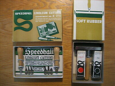 Speedball Linoleum Cutters Assortment and Roller - Vintage in Original Boxes