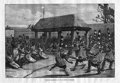 1873 The Logunkayauwa tail dancers Dahomey Benin Afrika Africa antique print