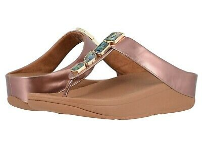 ddc414880fa Women s Shoes Fitflop FINO SHELLSTONE T-Strap Wedge Sandals R02-323 ROSE  GOLD