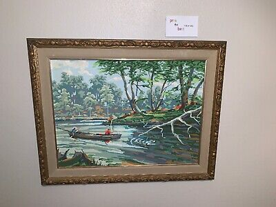 VTG 1955 PAINT BY NUMBERS Angler's Delight 33A Fishermen RARE Framed 18x24