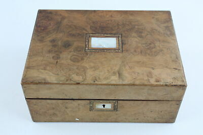 Antique Walnut Ladies Haberdashery SEWING BOX MOP INLAY By Cormack Brothers