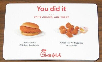 Chick fil A Gift Card Chicken Sandwich or Nuggets 8 count expires 6/29/2019