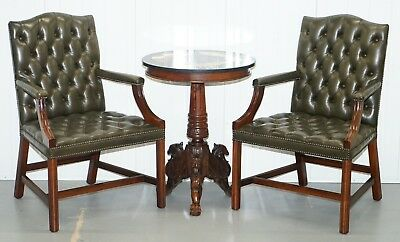 Lovely Pair Of Aged Green Leather Chesterfield Gainsborough Carver Armchairs