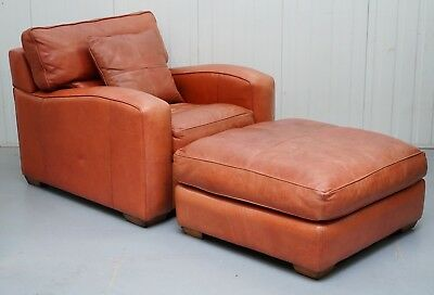 Rrp £4800 Duresta Panther Brown Leather Armchair & Oversized Plantation Stool