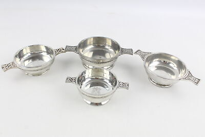 4 x Vintage Pewter QUAICH Scottish Drinking Cups Inc. Engraved (853g)