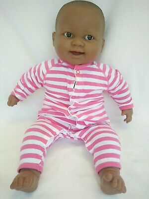 """African American 20"""" Berenguer Doll Brown Cloth Body Realistic Baby Black"""
