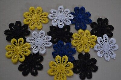 14 Daisy Flower Trim Mixed Colour Scrapbooking Embellishment Craft Sewing Fabric