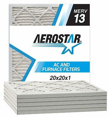 Aerostar 20x20x1 MERV 13 Pleated Air Filter Made in the USA 6-Pack HeavyDuty New