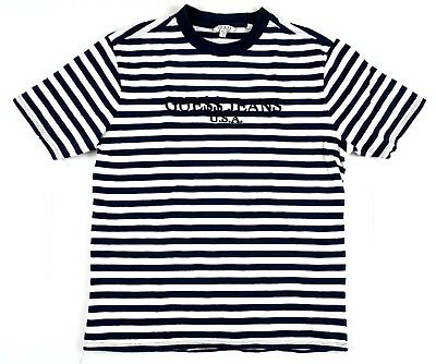 ny udgivelse gode priser officielle fotos GUESS ORIGINALS ASAP Rocky Striped T Shirt Small White Navy ...