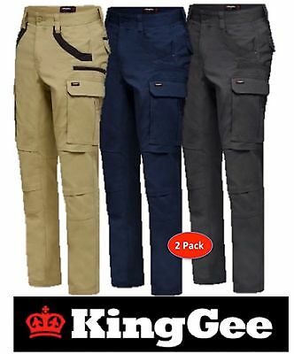 King Gee- Pack 2- Mens Tradies Stretch Cargo Pants-Straight Fit-Trousers-K69860
