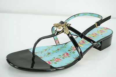 9cd55f02afb Gucci Soko Block Heel Black Patent Strappy Thong Sandals Size 39.5 Bee  750
