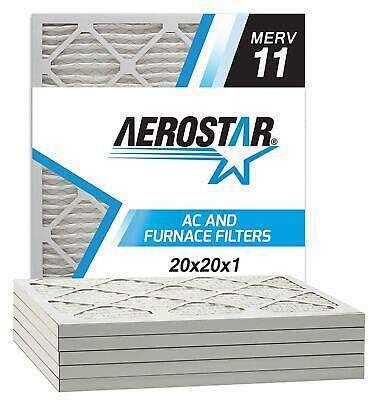 Aerostar Pleated Air Filter MERV 11 20x20x1 Pack of 6 Made in the USA New