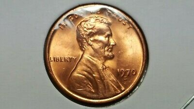 """1970-S Lincoln Memorial Cent """"small Date"""" High 7 Obverse Brilliant Uncirculated"""
